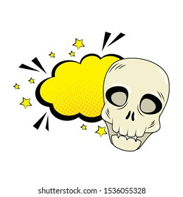 skull halloween with cloud style pop art vector illustration design
