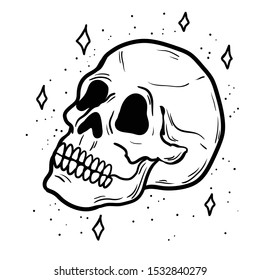 The skull. Halloween object design isolated element on white background. Hand drawn vector sketch doodle graphic illustration. Halloween party, holiday, cloth, print, icon, logo, paper, decor