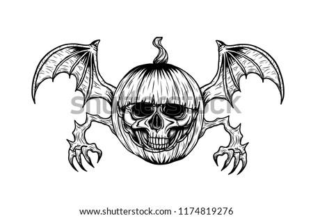 Skull Halloween Pumpkin Tattoo By Hand Stock Vector Royalty Free