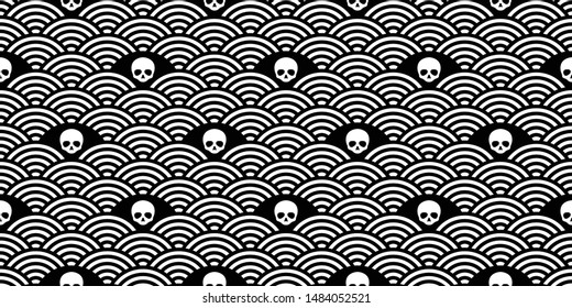 skull Halloween seamless pattern vector japan wave pirate bone scarf isolated repeat wallpaper tile background cartoon doodle illustration design