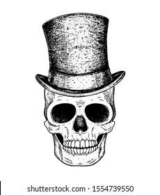 Skull hand drawn illustration. Cylinder hat on the skull. Tattoo vintage print. Retro skull sketch illustration. Vector print. Engraved style.