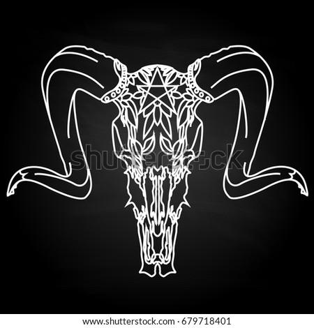 Skull Hand Drawn Illustration Isolated Tattoo Stock Vector Royalty