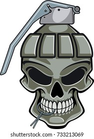 skull with hand grenade top and pin in mouth