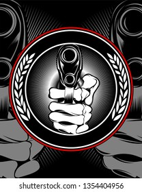 skull hand holding a gun vector.Shirt designs, biker, dj, gentleman, barber and many others. isolated and easy to edit. Vector Illustration - Vector
