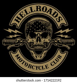 skull with handle bar of motorcycle vector illustration