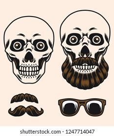 The skull has a vintage hair style with a mustache and a beard. vector illustration
