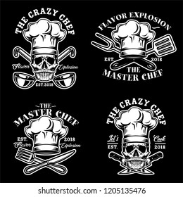 Skull with Hat Chef, Crazy Chef Logo, Emblem, Badge illustration in Black Background Stock Vector Set