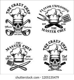 Skull with Hat Chef, Crazy Chef Logo, Emblem, Badge illustration in White Background Stock Vector Set