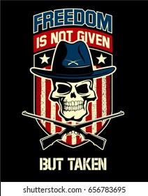 Skull with the hat and crossed guns and stars and stripes on background, vector military logo