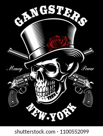 Skull with hat and guns on dark background. Tattoo art, shirt design. All elements, text are on the separate layers.