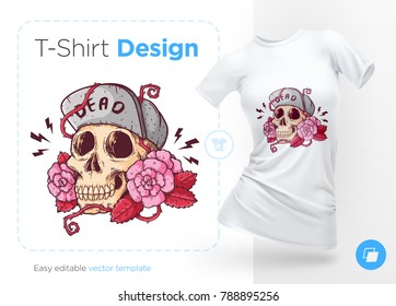 Skull in hat on roses. Prints on T-shirts, sweatshirts, cases for mobile phones, souvenirs. Isolated vector illustration on white background.