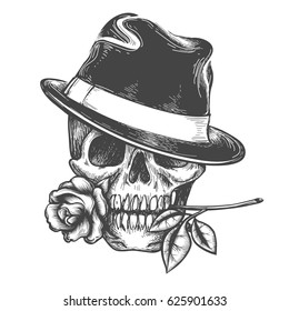 Skull in hat with rose flower in the mouth vector illustration. Vector hand drawn human skulls tatoo isolated on white background