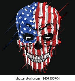 SKULL HEAD AMERICA FLAG . USA COLOR WITH GRUNGE EDITABLE LAYERS VECTOR