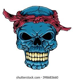 skull head with bandana - vector art