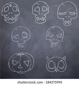 skull head chalkboard emotion