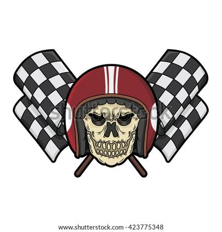 Skull Head Checkered Flag Racing Stock Vector (Royalty Free ... 5e084d587804