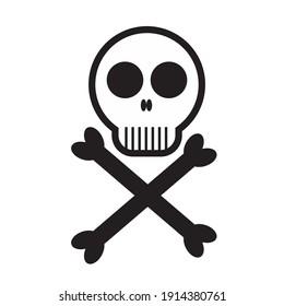 skull head with cross bone vector graphic illustration. poison or dangerous symbol