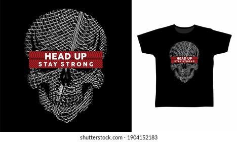 Skull head grey line art vector illustration t-shirt design.