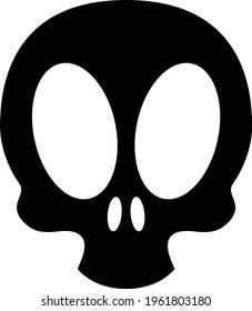 skull head hallowen silhouette for icon logo website design