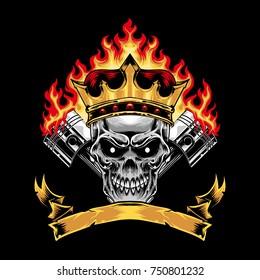 4c1ed2576d77 Skull head king graphic t-shirt design racing stuff art print
