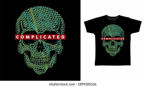 Skull head line art vector illustration t-shirt design.
