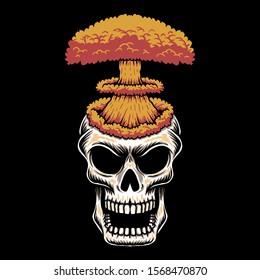 Skull head nuke vector illustration for your company or brand
