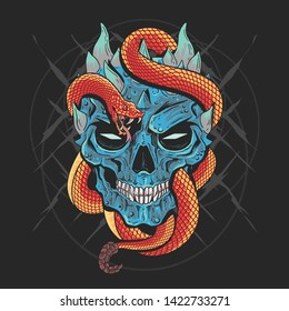 SKULL HEAD PUNK AND SNAKE ARTWORK DETAIL VECTOR WITH EDITABLE LAYERS GOOD FOR TSHIRT DESIGN AND ELEMENT HOROR AND SCARE THEME
