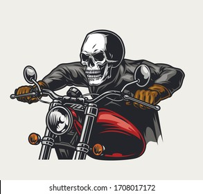 Skull head racer riding motorcycle in vintage style isolated vector illustration