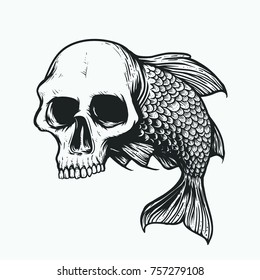 skull head scary fish illustration