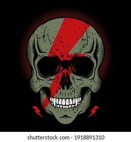 Skull head with thunder shape detailed vector illustration design