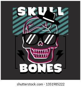SKULL HEAD typography design,vector illustration