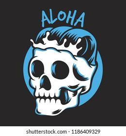 skull head vector design with waves