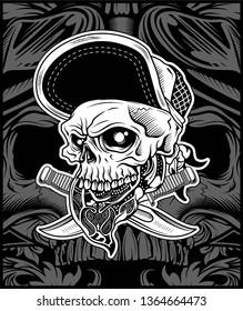 The skull head wearing bandana and hat, for t-shirt design artwork art print or underground music scene graphic needed - Vector