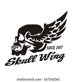 Skull head wing and typography