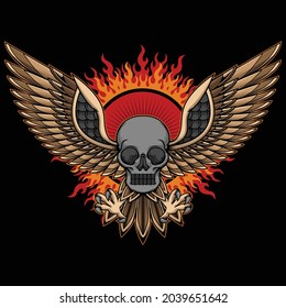 skull head and wings tattoo, vector EPS 10
