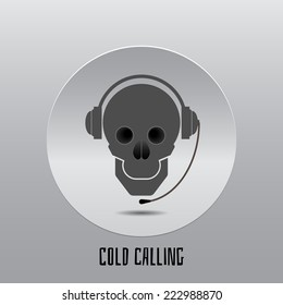 Skull with headphones, Cold calling icon.