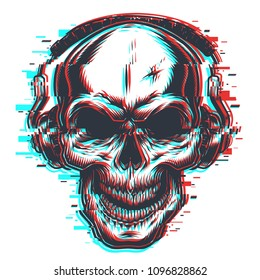 Skull with headphones in glitch effect. Vector illustration