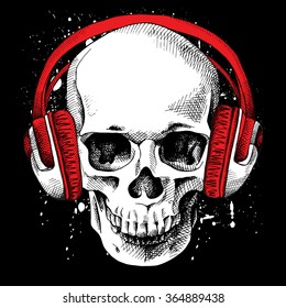 a47b54faaf5 Skull in a headphones on a black background. Vector illustration.