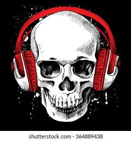 Skull in a headphones on a black background. Vector illustration.