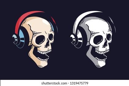 Skull in headphones on a dark background, vector illustration.