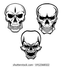 Skull heads drawing isolated in white background, free hand drawing.