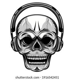 Skull with a headset mascot logo