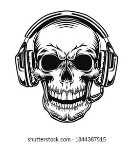 Skull with headset vector illustration. Head of character in headphones. Sound technology concept for online games topic or tattoo template