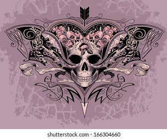 Skull heart on a dusty mauve background
