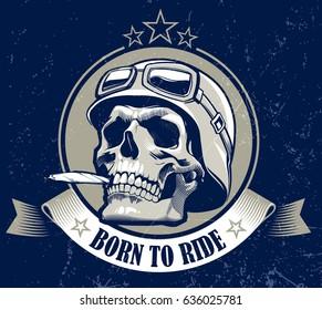 Skull in helmet with cigarette and racer glasses. Vector illustration .eps10