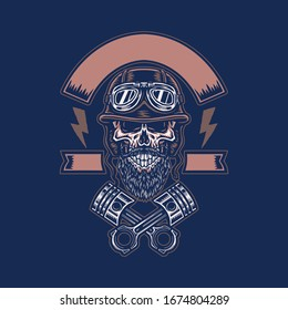 Skull in Helmet with Crossed Pistons, hand drawn line with digital color, vector illustration