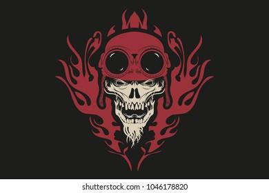 skull in helmet and glasses in fire.