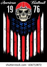 Skull in a helmet to play American football