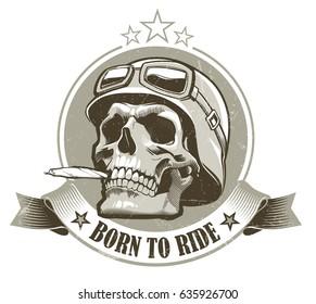 Skull in helmet with retro racer glasses. Vector illustration .eps10
