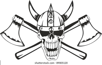 Skull in a helmet of the Viking with the crossed axes